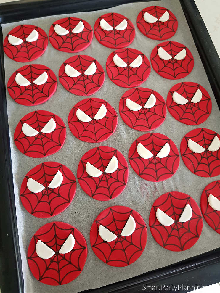 Tray of Spiderman cupcake toppers
