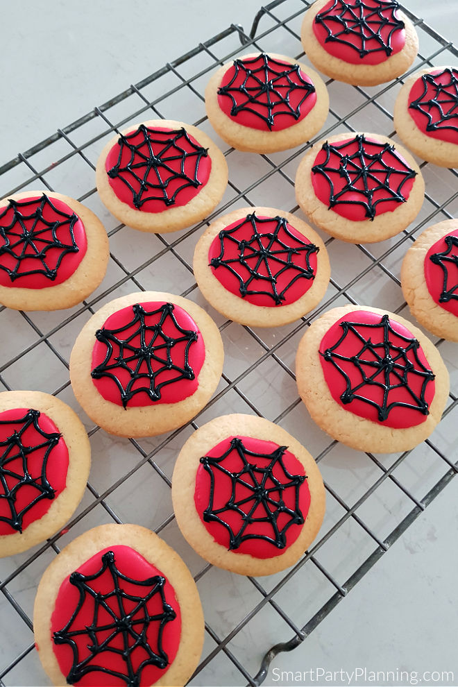 Tray of Web Spiderman Cookies