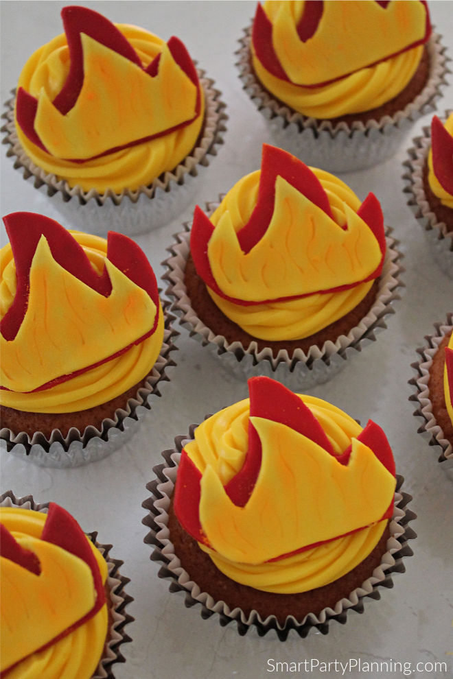 fire toppers on cupcakes