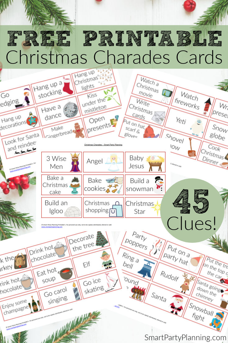 Free Printable Christmas Charades Cards for the whole family