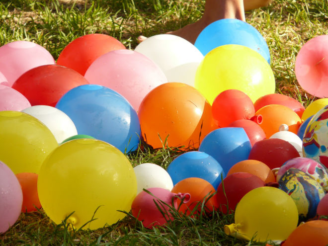 Water balloons on the ground
